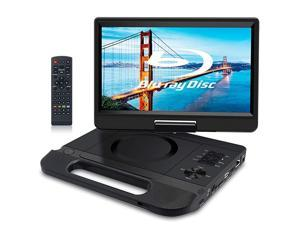 """12.5"""" 1080P Portable Blu-Ray Player with 10.5"""" HD Swivel Screen, HDMI Out & AV in, Multi Media Player, 5 Hours Rechargeable Battery, Supports USB/SD Card, Last Memory, Region Free"""