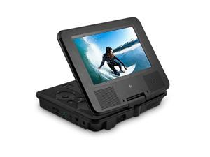 Portable DVD Player - 7-Inch High Resolution LCD Display, ON-THE-GO Movies, Music & Photos, 180 Degree Swivel, Premium Headphones, Travel Case