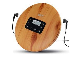 CD611 Portable CD Player for Home Travel and car with Stereo Headphones, Anti-Shock ,Wood Grain