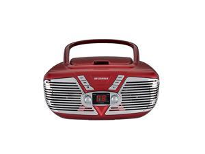 LEDVANCE  SRCD211RED Portable CD Boombox with AMFM Radio Retro Style Red