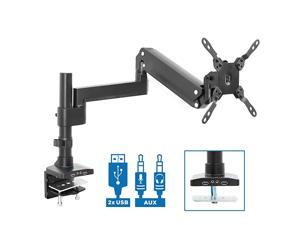 Premium Single Monitor Arm Desk Mount   Gas Spring Arm Fits up to 35 Inches and 33 Pounds   2 x USB 30 and Audio Port   CClamp and Grommet Bases   VESA 75 100 200   Aluminum   Black