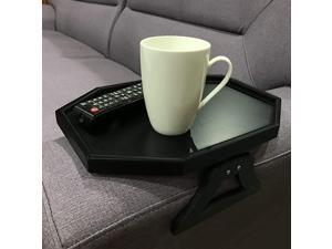 Sofa Couch Armrest Clip-On Table, Recliner Armrest Organizer Tray for Coffee/Snacks/Electronics (Black)