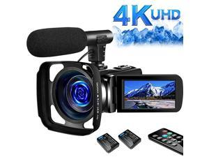 4K Video Camera Camcorder Digital YouTube Vlogging Camera Recorder UHD 30MP 3 Inch Touch Screen 18X Camcorder with Microphone2 Batteries
