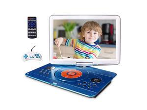 """Portable DVD Player with 14.1"""" Large Swivel Screen, Car DVD Player Portable with 5 Hrs Rechargeable Battery, Mobile DVD Player for Kids, Sync TV, Support USB SD Card with Car Charger (Blue)"""