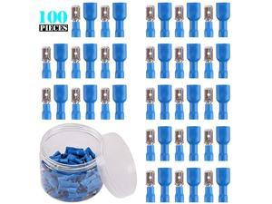 100PCS Wire Spade Connectors 1614 AWG Electrical Crimp Terminal Assortment Kits Male and Female Wire Connectors Kit for DIY Electrical Motorcycle Vehicle Boat