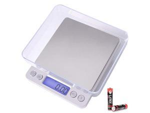 Digital Kitchen Scale 3000g 01g Pocket Food Scale 6 Units Conversion Gram Scale with 2 Trays LCD Tare Function Jewelry Scale for Jewlery Food Cooking NutritionsBattery Included