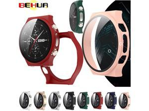 BEHUA Screen Protective Case with Tempered Film For Huawei Watch GT 2 GT2 Pro Full Protector Plating Frosted PC Hard Cover Shell