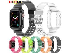 BEHUA Correa Strap For Apple Watch 6 5 4 3 2 1 42MM 38MM 40mm 44mm Silicone Watchbands Watchstrap Sports Bracelet Wristband
