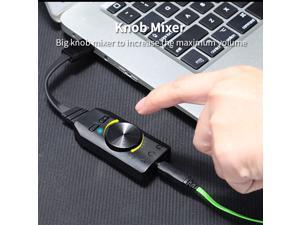 7.1 Channel Sound Card Converter Adapter Knob Adjust External USB Audio 3.5mm Headset Stereo for PC Desktop Computer Accessories