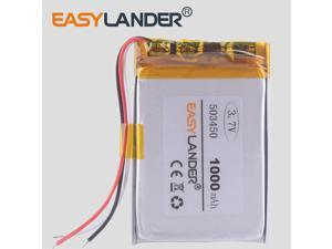 3-wire 1000 mAh 3.7V Polymer Lithium Rechargeable Battery Li-ion Battery 503450 543450 523450 for Smart Phone DVD MP3 MP4