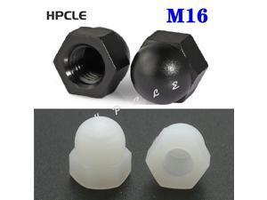 100pcs /lot  DIN1587 M16 PA66 Black Or White Nylon Nut Plastic Cap Nuts Decorative Acorn Nut