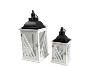 Spura Home Decorative Wooden Candle Lantern with Metal Top set of 2