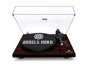 ANGELS HORN Bluetooth Record Player, Vinyl Record Player Stereo Vintage Phonograph Turntable Built-in 2-Speed Phono Preamp and USB Belt Drive, Vinyl to MP3 Recording, RCA Output (Mahogany Wood)