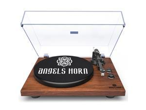ANGELS HORN Bluetooth Record Player, Vinyl Record Player Stereo Vintage Phonograph Turntable Built-in 2-Speed Phono Preamp and USB Belt Drive, Vinyl to MP3 Recording, RCA Output (Walnut Wood)