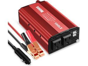 YSOLX 500W Power Inverter DC 12V to 110V AC Car Charger Converter with 4.8A Dual USB Ports