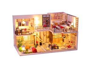 Wooden Crafts DIY Handmade Assembly 3D Doll House Miniature Furniture Kit with LED Light Toy for Kids Birthday Gift Home Decoration