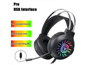 7.1 / 5.1 Surround RGB LED USB 3.5mm Gaming Wired Headset Headphones Headband with Microphone Gaming Headset Mic Headphones Stereo Bass Surround for Computer Laptop/ Headphone Holder - 7.1 Surround