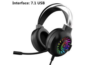 M10 Wired Headphones 7.1 Channel RGB Light Gaming Headset HIFI Stereo With Mic for Laptop Desktop Computer Video-B