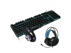 Mice Keyboards Headphones Combo 104-Key Backlit Mechanical Waterproof Wired Keyboard G5 800DPI Wired Mice 7.1 Stereo Sound 3.5MM USB E-Sports Headset with Mic RGB Luminous Gaming Set-D
