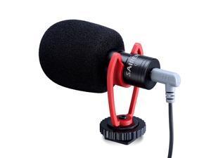 SAIREN Q1 Video Microphone On-Camera Condenser Recording Interview Vlog Mic for Phone DSLR Osmo Pocket Mobile-Black