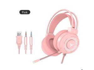 G60 7 Color Breathing Lamp Stereo Hifi Surround Sound Wired Headphones with Microphone for PC Laptop Game Headset- Pink