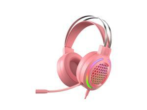 WH H500 Gaming Headset 7.1 Virtual Surround Sound 50mm RGB dynamic breathing Light Headphone Omni-directional Microphone-Pink