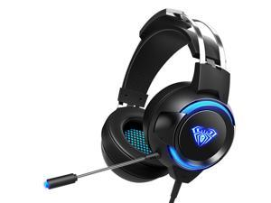 AULA G91 Gaming Headset 7.1 Channel 4D Surround Sound Stereo 50mm HIFI Headphone LED Light 360° Omnidirectional Noise Reduction Microphone-Black