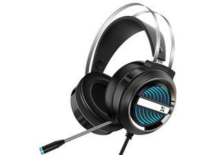 Heir Audio X9 Gaming Headset 7.1Channerl 50mm RGB Colorful Light 4D Surround Sound Ergonomic Design 360° Omnidirectional Noise Reduction Microphone-Black