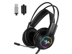 WH H200 Gaming Headset 7.1 Virtual Surround Sound 50mm RGB dynamic breathing Light Headphone Omni-directional Microphone-Black