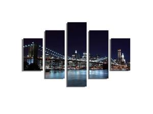5Pcs Canvas Painting New York City Wall Decorative Print Art Pictures Frameless Wall Hanging Home Office Decorations