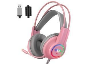 WH H200 Gaming Headset 7.1 Virtual Surround Sound 50mm RGB dynamic breathing Light Headphone Omni-directional Microphone-Pink