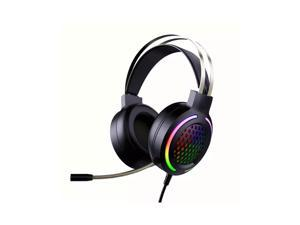 WH H500 Gaming Headset 7.1 Virtual Surround Sound 50mm RGB dynamic breathing Light Headphone Omni-directional Microphone-Black