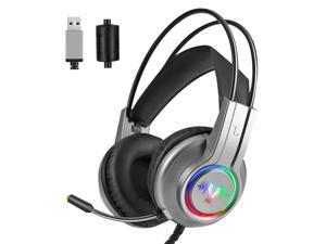 WH H200 Gaming Headset 7.1 Virtual Surround Sound 50mm RGB dynamic breathing Light Headphone Omni-directional Microphone-Silver