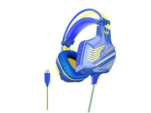 OVLENG GT61 Wired Gaming Headset USB 7.1 Channel 50mm Bass Stereo Sound LED Light E-sport Headphone with Mic for PS3/4 Computer PC Gamer-Blue+Yellow