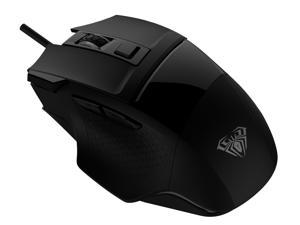 AULA S12 Wired Gaming Mouse, 2400 DPI Adjustable Optical Sensor, 7 Programmable Buttons, Home Office Ergonomic USB PC Computer Mice for Windows Gamer (Black)