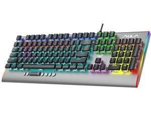 AULA F2099 Wired Mechanical Gaming Keyboard, 104-Keys Full Anti-Ghosting Mixed Backlit Lights Multimedia One-Key Control, Programmable PC Computer Keyboards for Gamers (104-Keys, Brown Switch)