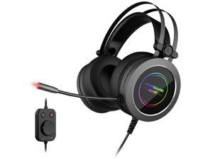 IFORGAME G200 Gaming Headset, 7.1 Virtual Surround Sound, Noise Cancelling, RGB, USB Connector Circumaural Wired PC Gaming Headset for PS4/Switch/Xbox one, Gray