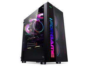 IFORGAME ATX Mid Tower Computer Case, High-Airflow Full-metal Mesh Design, Transparent Side Panel, Water-Cooling Ready, Magnetic Dust Filter, USB 3.0 Port, Compact PC Gaming Case without Case Fan