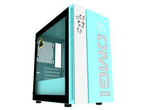IFORGAME M-ATX Mid Tower Computer Case, Tempered Glass Side Panel, Water-Cooling Ready, Magnetic Design Dust Filter, Front USB 3.0 Port, High-Airflow Compact PC Gaming Case without Case Fan