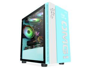 IFORGAME OMG Compact M-ATX ITX Mid-Tower PC Gaming Case, Tempered Glass Side Panel, Front I/O USB 3.0 Port, Water-Cooling Ready, Computer Chassis Desktop Case without Case Fan