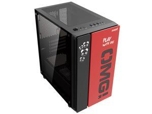 IFORGAME OMG Compact Mid-Tower PC Gaming Case, Tempered Glass Side Panel, Front I/O USB 3.0 Port, Water-Cooling Ready, Computer Chassis Desktop Case, Black/Red