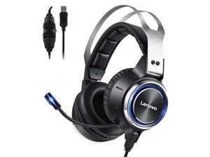 Lenovo HS25 Gaming Headset, 7.1 Surround Sound, Noise Cancelling, Memory Foam & PU Leather Earcups, Stainless Steel Headband, RGB, USB Wired Gaming Headphone for PC, PS4, Xbox One, Nintendo Switch