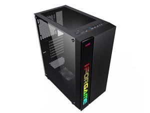 IFORGAME Compact ATX Mid-Tower PC Gaming Case with RGB LED Light Strip, Magnetic Dust Filter, Tempered Glass Side Panel, Cable Management System, Fully Ventilated Airflow, Water-Cooling Ready