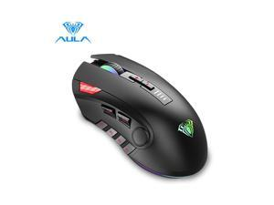 AULA H512 Gaming Mouse with Programmable Side Buttons, Breathing RGB Backlit, 5000 dpi, 11 Keys, Weights Adjustable, Ergonomic Game USB Optical Mice, Gamer Desktop Laptop PC Wired Gaming Mouse, Black