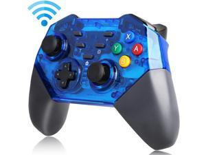 Wireless Controller for Nintendo Switch Pro, Programable Key, Anti-slip Frosted Shell,  One-key Connection to Host, Bluetooth Gamepad, Transparent Blue