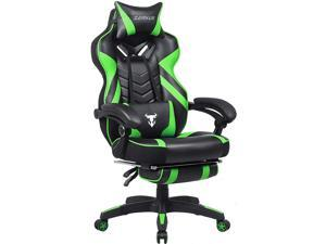 Zeanus Computer Gaming Chair for Adults, Gaming Chair with Massage, Ergonomic Gaming Chair with Footrest, Big and Tall Gaming Chair, Reclining Desk Gaming Chair, High Back Racing Chair (Green)
