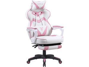 Zeanus Pink Gaming Chair for Adults, PC Gaming Chair for Girl, Gaming Chair with Footrest, Ergonomic Gaming Computer Chair with Massage, Gaming Desk Chair for Women, Reclining Video Game Chairs