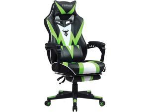 Zeanus Ergonomic Gaming Chair, Computer Chair with Footrest, Big and Tall Gaming Chair, Massage Gaming Chair for Adults, Reclining Gaming Chair, High Back Gaming Chair, E-Sports Gamer Chair (Green)