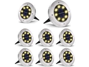 Solar Ground Lights, 8 LED Garden Lights Solar Powered,Disk Lights Waterproof In-Ground Outdoor Landscape Lighting for Patio Pathway Lawn Yard Deck Driveway Walkway,Warm White 8 Packs