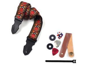 Guitar Bass Strap Widened and Lengthened Jacquard Woven Strap (Pickles Color Random) Strap Non-Slip Mat for Folk Guitar